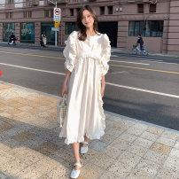 Dress Summer 2021 white S,M,L,XL Mid length dress singleton  Short sleeve commute Crew neck Loose waist Solid color Socket other 18-24 years old Other / other Korean version