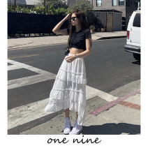 skirt Spring 2020 S,M,L white Mid length dress fresh High waist A-line skirt Solid color Type A 18-24 years old 51% (inclusive) - 70% (inclusive) other polyester fiber Lotus leaf edge