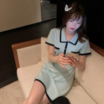 Women's large Summer 2021 Black MINT S M L XL Dress commute Short sleeve Yingzi instrument 18-24 years old Middle-skirt Other 100% Same model in shopping mall (sold online and offline)