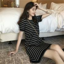 Dress Summer of 2019 Black bar S M L XL Mid length dress singleton  Short sleeve Sweet Crew neck middle-waisted stripe Socket other routine Others 18-24 years old Type H Yingzi instrument More than 95% knitting other Other 100% college Pure e-commerce (online only)