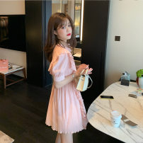 Women's large Summer 2020 Pink temperament white S M L XL Dress singleton  commute Self cultivation Short sleeve Solid color Korean version Lotus leaf collar routine puff sleeve Yingzi instrument 18-24 years old 96% and above Other 100% Pure e-commerce (online only)