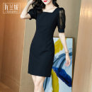 Dress Summer 2020 black S/155 M/160 L/165 XL/170 XXL/175 Middle-skirt singleton  Short sleeve commute square neck middle-waisted Solid color zipper One pace skirt puff sleeve Others 30-34 years old Type X Zolani Ol style Stitched zipper lace More than 95% polyester fiber Pure e-commerce (online only)