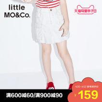 skirt 110/50 110/53 120/53 130/56 140/58 150/61 155/64 Denim white Little MO&CO. female Cotton 100% summer skirt Europe and America Denim skirt Pure cotton (100% cotton content) Class B Summer of 2019