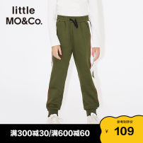trousers Little MO&CO. male 110/50 110/53 120/56 130/59 140/60 150/63 Army Green Black spring and autumn trousers Europe and America There are models in the real shooting Casual pants Leather belt middle-waisted Don't open the crotch Cotton 69% polyester 31% Autumn of 2018