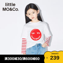 T-shirt This is white and black Little MO&CO. 110/52 110/56 120/56 130/60 140/64 150/68 155/72 neutral spring and autumn Long sleeves Crew neck Europe and America There are models in the real shooting nothing Pure cotton (100% cotton content) stripe Cotton 100% KBO1TEET03 Class B Spring 2020