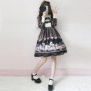 Dress Autumn of 2018 Black dress, beige dress, black dress + headdress, beige dress + headdress S,M,L Sweet Lolita