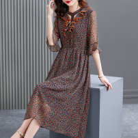 Dress Summer 2021 Decor S M L XL 2XL longuette singleton  elbow sleeve commute V-neck Elastic waist other Single breasted A-line skirt Lotus leaf sleeve Others 40-49 years old HN & Mo / Han Mu Hollow lace A217069 More than 95% other Other 100% Pure e-commerce (online only)