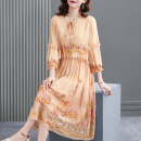 Dress Summer 2021 Apricot powder S M L XL 2XL Mid length dress Fake two pieces three quarter sleeve commute Crew neck Elastic waist Socket A-line skirt bishop sleeve Others 40-49 years old HN & Mo / Han Mu Embroidered lace up AS217039 More than 95% other Other 100% Pure e-commerce (online only)