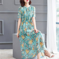 Dress Summer 2020 Fresh blue S M L XL XXL Mid length dress singleton  Short sleeve Crew neck Decor Socket Big swing routine 40-49 years old HN & Mo / Han Mu Lace up printing A8106 More than 95% other Other 100%