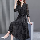 Dress Summer 2021 black S M L XL 2XL longuette singleton  elbow sleeve commute V-neck middle-waisted Dot A button A-line skirt shirt sleeve Others 40-49 years old HN & Mo / Han Mu Splicing bandage A217068 More than 95% other Other 100% Pure e-commerce (online only)