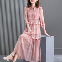 Dress Summer 2021 Light pink S M L XL 2XL longuette Two piece set elbow sleeve stand collar Loose waist Solid color other A-line skirt bishop sleeve Others 40-49 years old HN & Mo / Han Mu Patchwork lace AQ217070 More than 95% other Other 100% Pure e-commerce (online only)