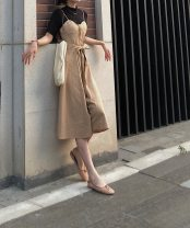 Dress Summer 2020 Deep Khaki S,M,L Mid length dress Two piece set Sleeveless Sweet V-neck High waist zipper Big swing routine camisole Type A Other / other 20200727b 81% (inclusive) - 90% (inclusive) hemp