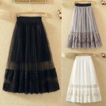 skirt Spring 2020 One size, large elastic waist 120-145 Jin White, gray, black, apricot longuette Versatile High waist Pleated skirt Solid color Type A Lace polyester fiber Wave, lace, stitching, gauze, fold