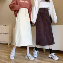 skirt Winter 2020 M, L Black, beige, apricot, coffee Mid length dress commute High waist A-line skirt Solid color Type A 18-24 years old 31% (inclusive) - 50% (inclusive) corduroy Korean version