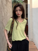 T-shirt white , black , grey , Pink , green , violet , Apricot , blue , orange , canary yellow M,L,XL Summer 2021 Short sleeve Crew neck easy Regular routine commute other 30% and below 18-24 years old Korean version youth