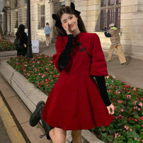 Dress Spring 2021 Black, red Average size Short skirt Fake two pieces Long sleeves commute stand collar Loose waist Solid color zipper A-line skirt puff sleeve Others 18-24 years old Type A Retro 30% and below other