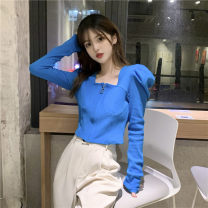 Wool knitwear Summer 2021 Average size Blue, black Long sleeves singleton  Cardigan other 30% and below have cash less than that is registered in the accounts routine commute Self cultivation square neck routine Solid color zipper Korean version 18-24 years old