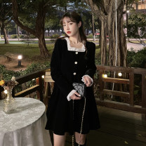 Dress Spring 2021 black S, M Mid length dress singleton  Long sleeves commute square neck High waist Solid color Socket A-line skirt routine Others 18-24 years old Type A Korean version Auricularia auricula, stitching, button 30% and below other