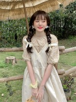 Dress Summer 2021 Floral shirt, apricot suspender skirt Average size Mid length dress singleton  Short sleeve Sweet Crew neck High waist Solid color Socket A-line skirt puff sleeve 18-24 years old Type A 30% and below other other