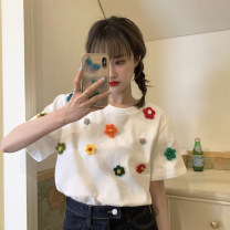 T-shirt white Average size Spring 2021 Short sleeve Crew neck easy routine commute other 30% and below 18-24 years old Korean version youth Plants and flowers Three dimensional decoration