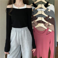 T-shirt Black, white, gray, green, camel, pink, coffee Average size Autumn 2020 Long sleeves Fake two pieces have cash less than that is registered in the accounts routine commute other 30% and below 18-24 years old Korean version youth Solid color Splicing