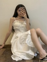 Dress Summer 2021 Black dress, white dress, denim blue coat S. M, average size Mid length dress singleton  Sleeveless commute One word collar High waist Solid color Socket Big swing camisole 18-24 years old Type A Korean version 30% and below cotton