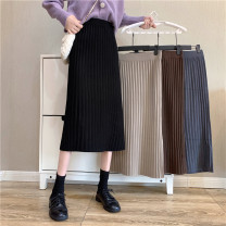 skirt Winter 2020 Average size Apricot, grey, black, brown Mid length dress commute High waist A-line skirt Solid color Type A 18-24 years old 51% (inclusive) - 70% (inclusive) knitting cotton Korean version