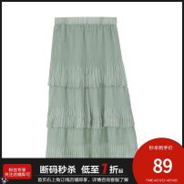 skirt Summer 2020 34/XS/155,36/S/160,38/M/165,40/L/170,42/XL/175 Light green longuette Cake skirt Solid color Type A 25-29 years old PR421503LT254 More than 95% other Peoleo / piaoyei fold