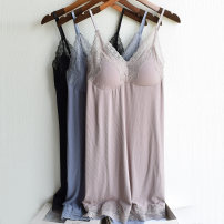 Nightdress Other / other Carmine, indigo, oats, apricots, moonlight grey, plain black Average size sexy camisole pajamas Short skirt summer Solid color youth V-neck viscose  lace 81% (inclusive) - 95% (inclusive)
