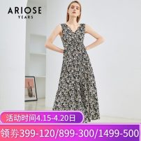 Dress Summer 2020 black S,M,L,XL,2XL longuette singleton  Sleeveless commute V-neck High waist Decor Socket Big swing routine camisole 25-29 years old Type X Ariose & years printing Chiffon other