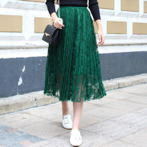 skirt Spring of 2019 Average size longuette fresh High waist A-line skirt Solid color Type A Lace Hooyiu / Huoyu Pleated lace Pure e-commerce (online only)