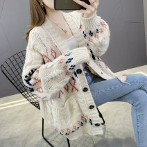 Wool knitwear Autumn 2020 S M L XL Beige white red Long sleeves singleton  Cardigan other More than 95% Regular routine commute easy V-neck routine Color matching Single breasted Korean version YZM80613 35-39 years old Beautiful appearance Jacquard pocket printed stitched threaded buttons Other 100%
