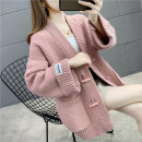 Wool knitwear Autumn 2020 S M L XL White pink green red Long sleeves singleton  Cardigan other More than 95% Regular thickening commute easy V-neck routine Solid color Single breasted Korean version YZM80616 35-39 years old Beautiful appearance Pocket patch stitched threaded buttons Other 100%