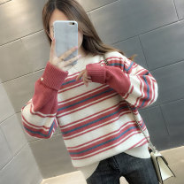sweater Winter 2020 S M L XL Long sleeves Socket singleton  Regular other 95% and above Crew neck Regular commute routine stripe Straight cylinder Regular wool Keep warm and warm 30-34 years old Beautiful appearance Printed stitched threaded button Other 100% Pure e-commerce (online only)