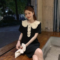 Dress Summer 2020 black S M L XL Short skirt singleton  Short sleeve commute Doll Collar High waist other other Others 18-24 years old Type A Soaino Korean version More than 95% other Triacetate fiber (triacetate fiber) 100% Pure e-commerce (online only)