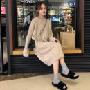 Dress Winter of 2019 Apricot dress S M L XL longuette singleton  Long sleeves commute Crew neck Loose waist Solid color Socket A-line skirt routine Others 18-24 years old Soaino Retro thread B2223 71% (inclusive) - 80% (inclusive) polyester fiber Polyester 80% other 20% Pure e-commerce (online only)