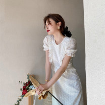 Dress Summer 2020 white S M L XL longuette singleton  Short sleeve commute Crew neck High waist Solid color Socket A-line skirt puff sleeve Others 18-24 years old Type A Soaino Retro Tie lace with bows C4N2087 71% (inclusive) - 80% (inclusive) polyester fiber Polyester 80% other 20%