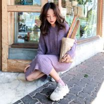 Dress Autumn of 2019 S M L XL Mid length dress singleton  Long sleeves commute Hood Solid color routine 18-24 years old Soaino Korean version 328# More than 95% knitting other Triacetate fiber (triacetate fiber) 100%