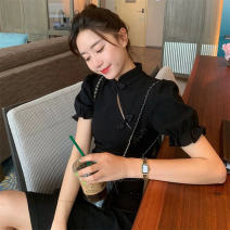 Women's large Summer 2020 S M L XL singleton  commute Short sleeve Solid color Korean version stand collar puff sleeve Soaino 18-24 years old Short skirt Polyester 100% Pure e-commerce (online only)