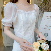 Women's large Summer 2020 White dress S M L XL square neck Three dimensional cutting puff sleeve GCDF—G592-1 Soaino Other 100% Pure e-commerce (online only)