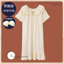 Nightdress Su Teng Apricot short sleeve round neck nightdress 160(M) 165(L) 170(XL) 175(XXL) Sweet Short sleeve Leisure home Middle-skirt summer letter youth Crew neck cotton Embroidery More than 95% pure cotton 200g Summer 2021 Cotton 100% Pure e-commerce (online only)
