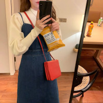 Dress Spring 2021 White base shirt + dark blue denim skirt S M L XL longuette Two piece set Sleeveless commute other High waist Solid color Socket A-line skirt camisole 18-24 years old Type A Chu Mu Retro Bow stitched split D1N1923 71% (inclusive) - 80% (inclusive) polyester fiber