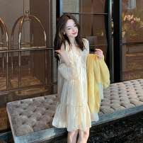 Dress Autumn 2020 Champagne dress yellow cardigan + champagne dress S M L XL Mid length dress Two piece set Long sleeves commute V-neck High waist Solid color Socket A-line skirt routine Others 18-24 years old Type A Chu Mu Retro C8N4254 71% (inclusive) - 80% (inclusive) polyester fiber