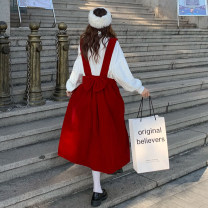 Women's large Winter 2020, autumn 2020, spring 2021 Red dress, black dress, shirt L (100-120 kg recommended), XL (120-140 kg recommended), 2XL (140-160 kg recommended), to ensure that the real object is consistent with the picture Dress Two piece set commute easy moderate Socket Long sleeves routine