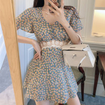 Dress Summer 2021 Picture color S. M, l (100-120 kg recommended), XL (120-140 kg recommended), 2XL (140-160 kg recommended), 3XL (160-180 kg recommended) to ensure that the real object is consistent with the picture Short skirt singleton  Short sleeve commute V-neck High waist Broken flowers routine