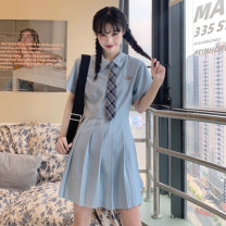 Dress Summer 2021 White, blue S. M, l (recommended 100-120 kg), XL (recommended 120-140 kg), 2XL (140-160 kg recommended), 3XL (160-180 kg recommended), 4XL (180-200 kg recommended), to ensure that the real object is consistent with the picture Short skirt singleton  Short sleeve commute Polo collar