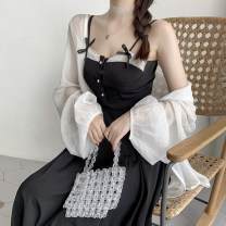 Women's large Summer 2020 Lace patched suspender skirt Dress singleton  commute Self cultivation moderate Socket Sleeveless Solid color Korean version One word collar polyester Three dimensional cutting Other / other Lace stitching 31% (inclusive) - 50% (inclusive) Medium length bow