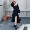 Dress Spring 2021 black M (recommended 80-100 kg), l (recommended 100-120 kg), XL (recommended 120-140 kg), 2XL (recommended 140-160 kg), 3XL (recommended 160-180 kg), 4XL (recommended 180-200 kg) to ensure that the real object is consistent with the picture longuette singleton  Long sleeves commute