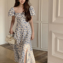 Dress Summer 2021 Blue flower S. M, l, XL, 2XL, 3XL, 4XL, ensure the consistency between the real object and the picture longuette singleton  Short sleeve commute square neck High waist Broken flowers A-line skirt puff sleeve Type A Other / other Korean version Backless, bandage, print
