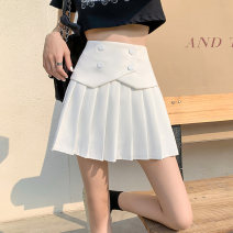 skirt Summer 2021 L (100-120 kg), XL (120-140 kg), 2XL (140-160 kg), 3XL (160-180 kg), 4XL (180-200 kg) are recommended to ensure that the objects are consistent with the pictures White, black Short skirt commute High waist Pleated skirt Solid color Type A 31% (inclusive) - 50% (inclusive)
